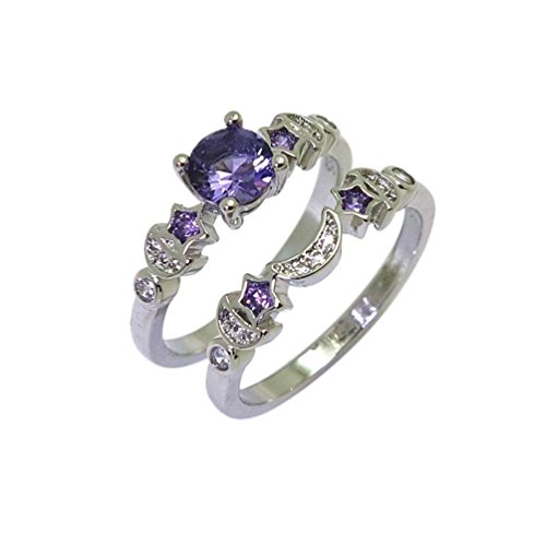 Sinwo Creative Star Moon Ring Female Hand Decorated With Purple Gem Engagement Ring Wedding Band Bride Ring (7, (Moon Ring Jewelry)