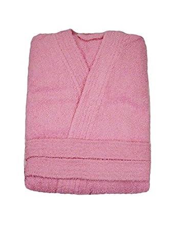 Damen Herren Bademantel rosa rose Morgenmantel Saunamantel Frottee Baumwolle