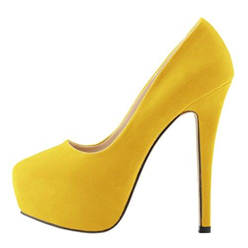 Toe Pump Velvet Frauen Stiletto Gelb Sexy Kleid Closed Absatz Einfache vq8EaTx8
