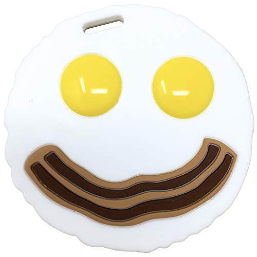 Silli Chews Happy Baby Food Teether Silly Eggs and Bacon Teething Toy Funny Toddler Silicone Chew Toy