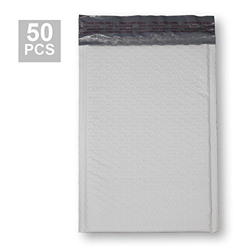 KKBESTPACK Poly Bubble Mailer 6x9 Self Seal Padded Envelopes, White, Pack of 50