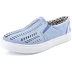 Dahanyi Stylish Women Shoes Cut-outs Elastic Band Vulcanized Shoes Female Flock Slip-on Shallow Breathable Flat Casual Shoes Loafers Women blue 8