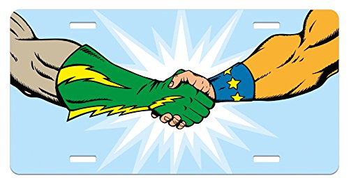 Lunarable Superhero License Plate, Heroes Handshake Teamwork Togetherness Friendship Partners Success Concept, High Gloss Aluminum Novelty Plate, 5.88