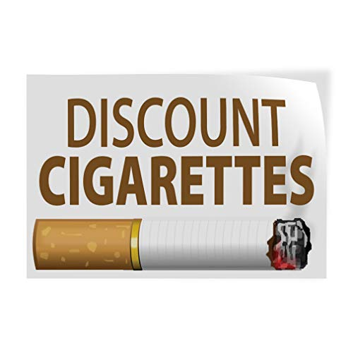 Decal Sticker Multiple Sizes Discount Cigarettes Business Style U Business Discount Cigarettes Outdoor Store Sign White - 66inx44in, Set of ()