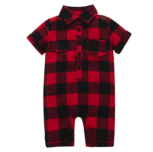 Kehen Infant Baby Girls Boys Short Sleeve Button Down Plaid Flannel Romper Playsuit Tops with Pocket (Red, 0-6 Months)
