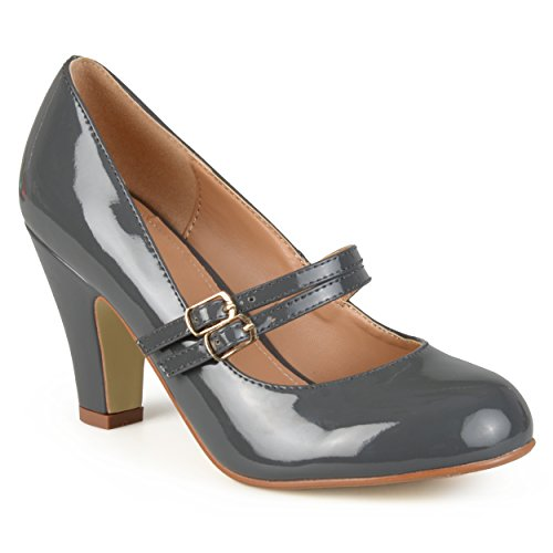 Journee Collection Womens Mary Jane Patent Faux Leather Pumps Grey 8.5