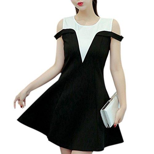 de Ocasional Manga Mujeres Floja la Vestido Corta Leche de Seda Hombro sólida Verano 2XL del Providethebest Cuello Vestir Las de O ntq7wnP80