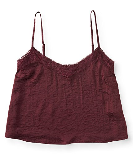 Charmeuse Lace Trim (Aeropostale Women's Charmeuse Lace-Trim Cami XSmall Bold Burgundy)