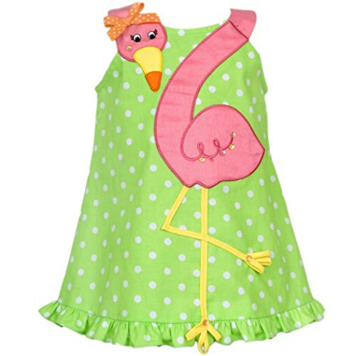 Adorable Rare Editions Girls Lime And White Dotted Woven Flamingo Dress