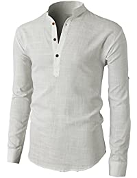 Mens Casual Slim Fit Basic Designed Roll-up Sleeve Popover Henley Shirts