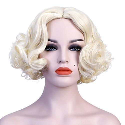 WELLKAGE Short Blonde Curly Wavy Cosplay Marilyn Monroe