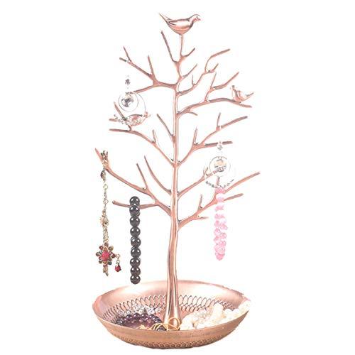 (AMDXD Jewelry Rack Store Alloy Tree Bronze Jewelry Storage Girls)