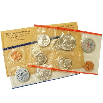 - 1960 S US Mint Silver Proof set Large Date Gem Uncirculated