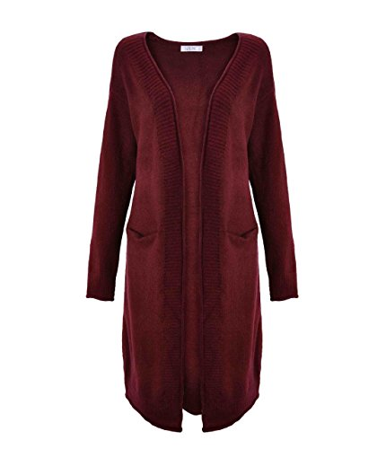 ZLYC Women Soft Feel Basic Pockets Maxi Cardigan Knitted Longline Coatigan Sweater Red