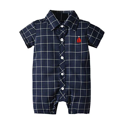 NUWFOR Infant Baby Boys Short Sleeve Gentleman Plaid
