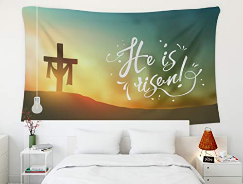 Crannel Easter Christian Easter Scene Cross Dramatic Sunrise He Horizontal Transparency Gradient is Risen Tapestry 80x60 Inches Wall Art Tapestries Hanging for Dorm Room Living Home Decorative