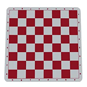WE Games Red Silicone Tournament Chess Mat - 20 Inch Board with 2.25 Inch Squares with Algebraic Notation