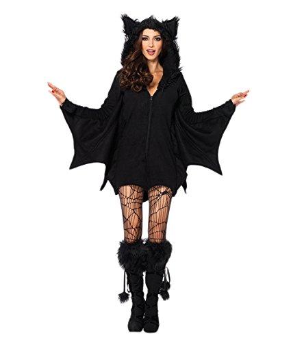 [Bikini Factory Black Halloween Adult Women Hoodie Vampire Costume Batwomen (XL)] (Batwoman Costume Cape)