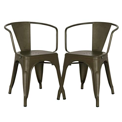 Poly and Bark Trattoria Arm Chair in Bronze (Set of 2) (Metal Chairs Grey Dining)