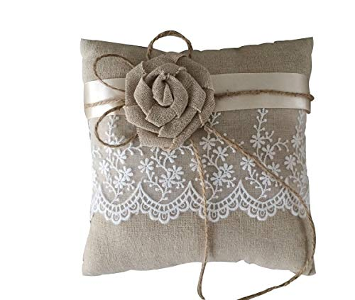 DecorFav 20x20cm Fairy Tale Theme Floral Lace Flower Linen Ring Pillow