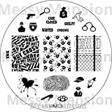 MESSY MANSION MM28 Nail Art Stamping Plate - Crime Scene Police theme