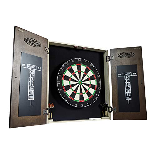 BARRINGTON Bellevue Collection Premium Bristle Dartboard Cabinet Set: Professional Hanging Classic Sisal Dartboard with Self Healing Bristles and Accessories - 6 Steel Tip Darts ()