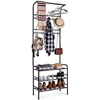 HOMFA Metal Entryway Coat Shoe Rack 3-Tier Shoe Bench with Coat Hat Umbrella Rack 20 Hooks
