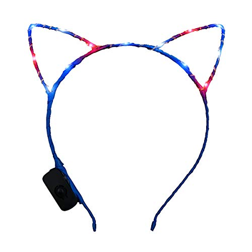 (Patriotic Starlight Kitty Cat Ears Headband with Red, White & Blue LED Lights for Fourth of July)