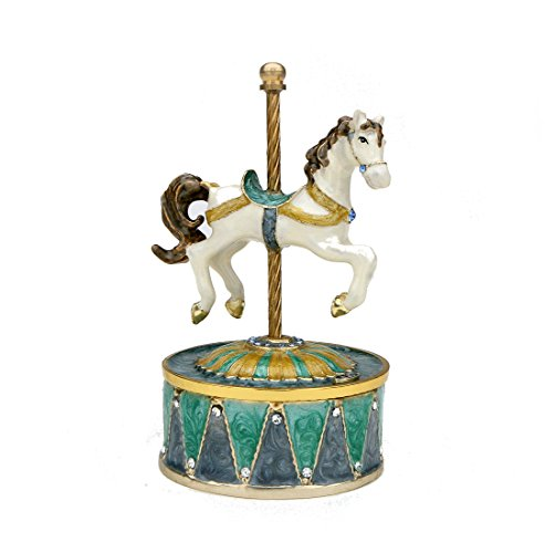 Revolving Music Box (Single Horse Music Box Set w/ Swarovski Crystals - Music Box, Horse Music Box, Revolving Music Box, Plays