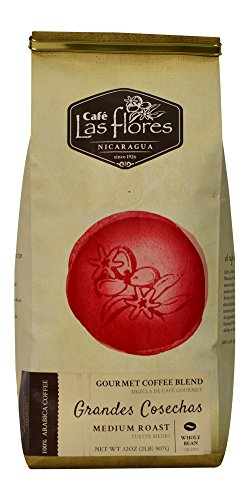 Café Las Flores Grandes Cosechas Medium Roast Whole Coffee Beans 907 GRAMS (2 POUNDS) 100% Arabica Gourmet Coffee Blend - Nicaragua's Finest Coffee
