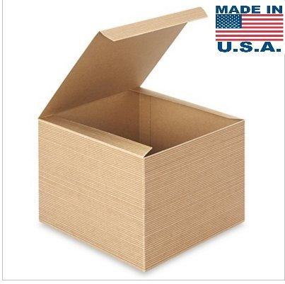 10 pk A1BakerySupplies Preimer High Quality Kraft Pinstripe Brown Treat Gift Boxes (8 In x 8 In X 6 In) 10pk -