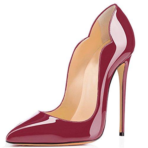 Aiguille Stiletto Soles Chaussures Escarpins Taille Talon uBeauty Rouge Rouge Femmes Vin Laçage Grande t6q01wnxH