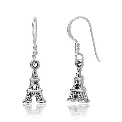 925 Sterling Silver 3D Paris Eifel Tower Dangle Hook Earrings