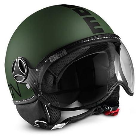 Momo Design Fighter Classic - Casco para moto de efecto esmerilado, talla L, color verde y negro