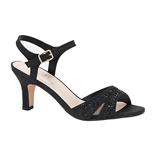 De Blossom Collection Womens Sparkle Rhinestone Embellished Ankle Strap Low Heel Wide Width Dress Sandal Black i7sbUUcqQE