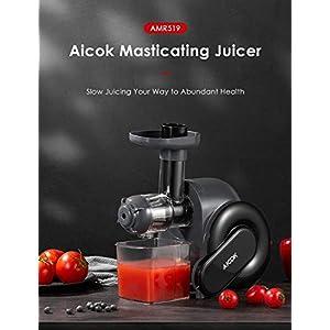 Estrattore di Succo a Freddo, Aicok Estrattore di Frutta e Verduracon Motore Silenzioso, 2 contenitori e Spazzola per Succo più Nutriente, Funzione Anti-Intasamenti, senza BPA - 2021 -