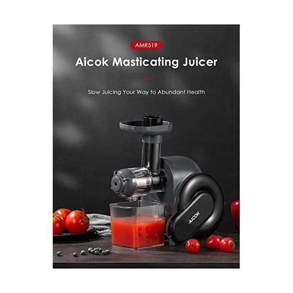 Estrattore di Succo a Freddo, Aicok Estrattore di Frutta e Verduracon Motore Silenzioso, 2 contenitori e Spazzola per Succo più Nutriente, Funzione Anti-Intasamenti, senza BPA - 2020 -
