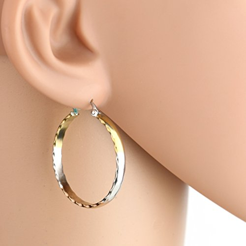 (United Elegance - Contemporary Polished Tri-Color Silver, Gold & Rose Tone Hoop Earrings (Simply)
