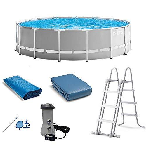 Intex 15 Foot x 48 Inch Prism Above Ground Swimming Pool Set & Ladder and CoverIntex Cleaning Maintenance Swimming Pool Kit w/ Vacuum Skimmer & Pole   28002E