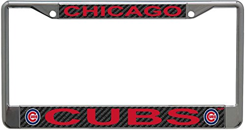 Stockdale Chicago Cubs Carbon Fiber Design LASER FRAME Chrome Metal License Plate Tag Cover Baseball