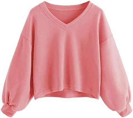 Fashion Women Solid Color Casual Drop Shoulder Lantern Sleeve Sweatshirt Pullover Loose Slouchy Tops Outerwear