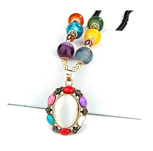 Price comparison product image Gorgeous Jewelry Oval Shape Opal Pendant Flower Bohemia Crystal Buddha Beaded Necklace