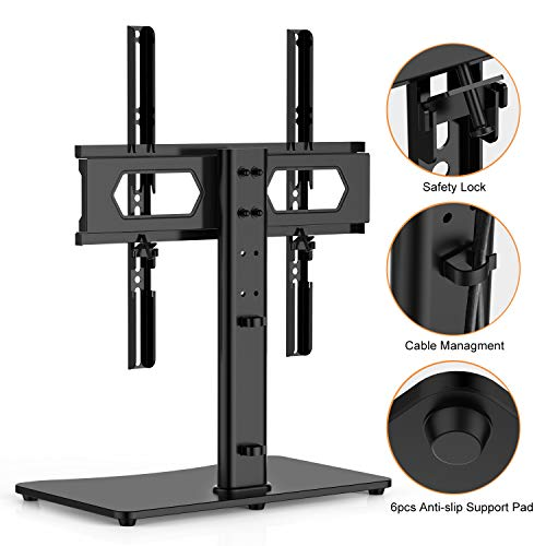 MGO Universal TV Stand Table Top TV Stand for Most 32-55 inch LCD LED Smart TV Height Adjustable TV Base Stand with Max VESA 400X400mm
