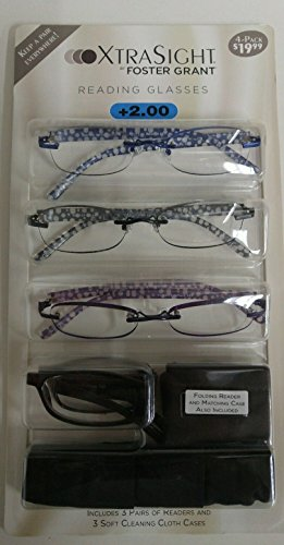 4 Pack FOSTER GRANT Tamara READING GLASSES +2.00 With 3 Soft Cloth Cases and Tortise Color Folding Reader - Tortise Glasses