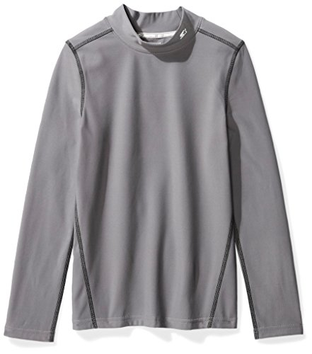 (Starter Boys' Long Sleeve Mock Neck Athletic Light-Compression T-Shirt, Amazon Exclusive, Iron Grey, XS (4/5))
