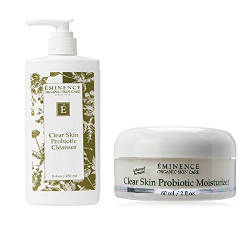 Bundle - 2 Items : Eminence Clear Skin Probiotic Cleanser, 8.4 Ounce & Eminence Clear Skin Probiotic Moisturizer, 2 Ounce