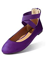 DailyShoes Women's Classic Comfortable Casual Walk Elastic Cross Strap Round Toe Slip-On Flat Shoes
