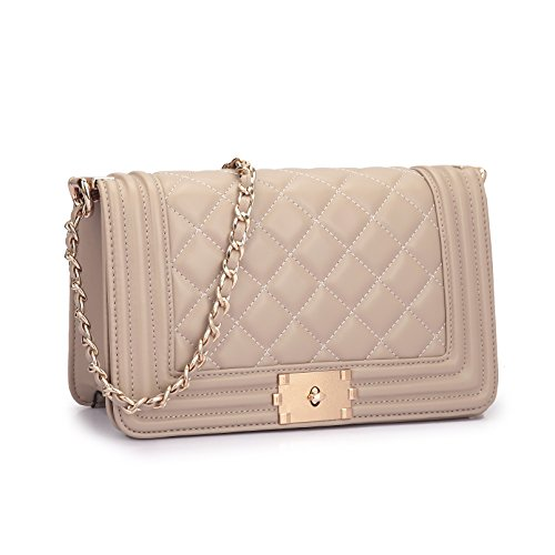 quilted crossbody purse beige - 8
