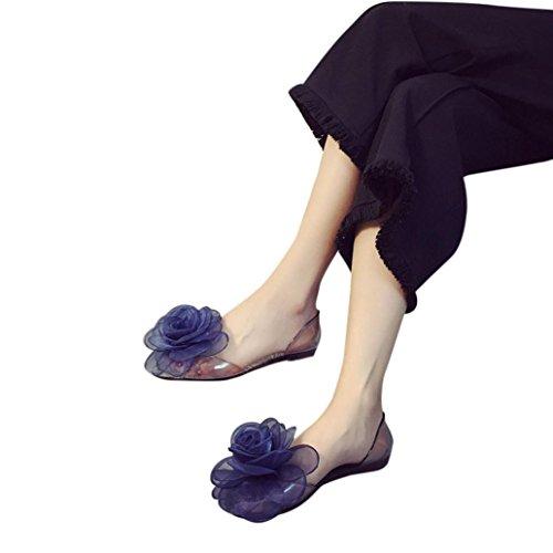 Fheaven Sandaler For Kvinner - Kvinner Flats Gjennomsiktig Peep-toe Sklisikker Flate Blomster Sko Strand Sko Blå