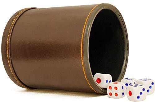 PU Leather Dice Cup Set with 6 Dot Dices (Brown, Pack of 1)